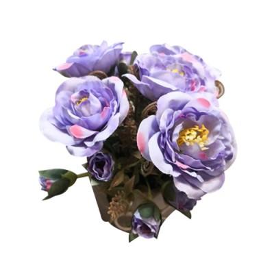 ดอกไม้ประดิษฐ์ กุหลาบม่วง 9076