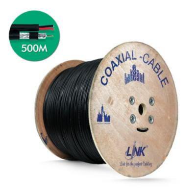 สายเคเบิ้ล  CCTV RG6 LINK CB-0106AWA Shield 95% มีสายไฟ 500 M.