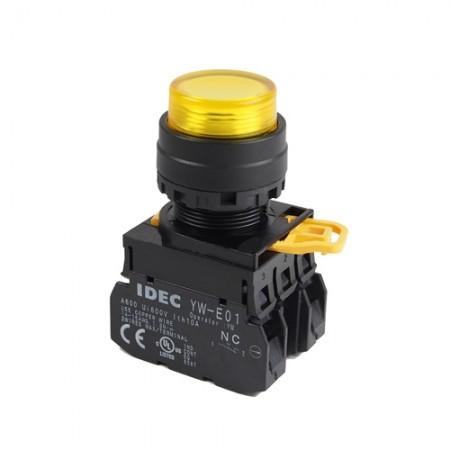 สวิทกดจมมีไฟ22มมYW1L-M2E11Q424V สีเหลือง IDEC