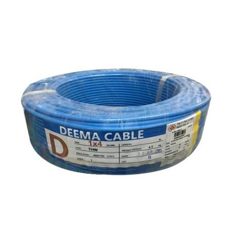 สายไฟเดี่ยว(THW) 1*4 สีน้ำเงิน DEEMA