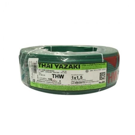 สายไฟเดี่ยว IEC 01 THW 1*1.5 YAZAKIเขียว