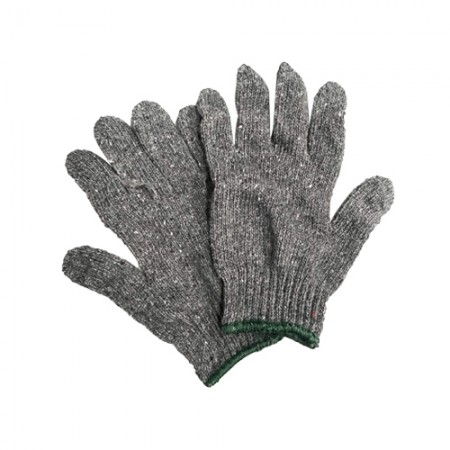 ถุงมือผ้า 7ขีด สีเทา ขอบเขียว