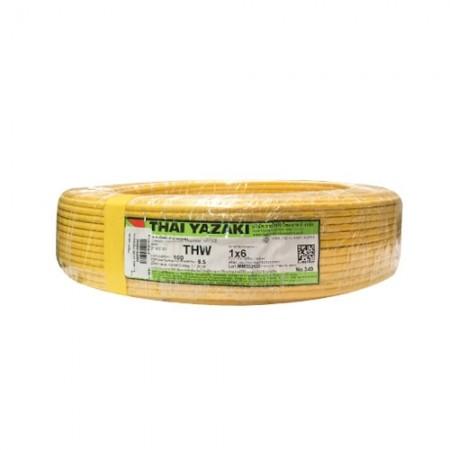 สายไฟเดี่ยว IEC 01 THW 1*6 YAZAKI เหลือง