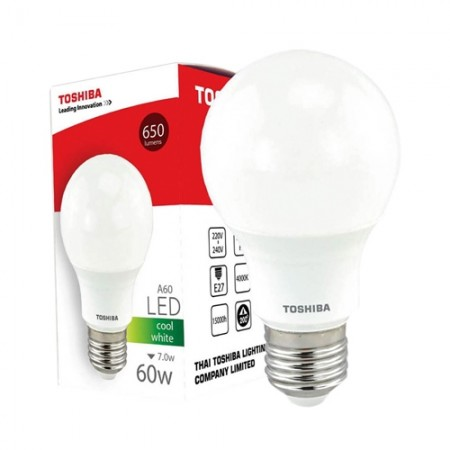หลอดไฟ LED A60 7W CW E27(G4) TOSHIBA LT