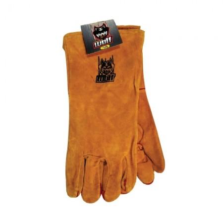 ถุงมือหนังยาวมีซับ อย่างดี สีเหลืองWOLF