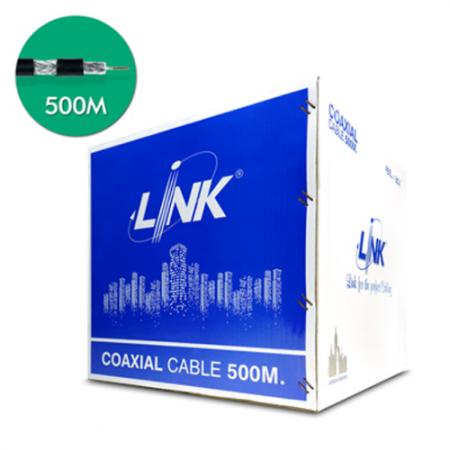 สายเคเบิ้ล CCTV RG6 LINK CB-0106A Shield 95% สีดำ 500M.