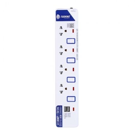 ปลั๊กคอม 4ที่+USB ET914+USB 3ม TOSHINO มอก.