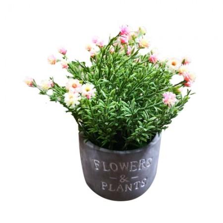 ดอกไม้ในกระถางกลม Flowers Q27-1 สีชมพู