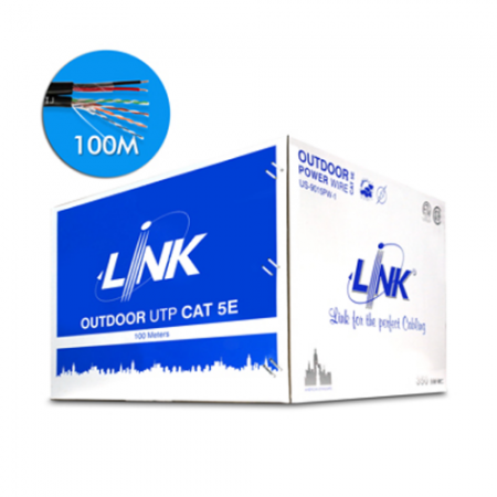 สายแลน LINK CAT 5E UTP,PE OUTDOOR US-9015PW-1 w/Power wire 100 M.
