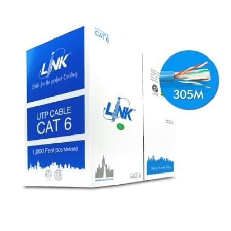 สายแลน CAT6 US-9106A LINK (305M.) สีฟ้า