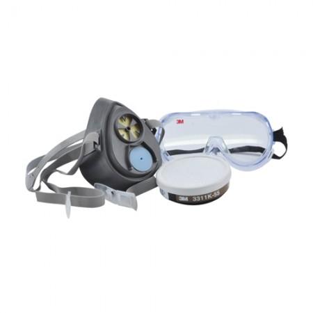 ชุดหน้ากากแว่นตาไส้กรองเดี่ยว 2pc 3200-55 3M ชุดใหญ่