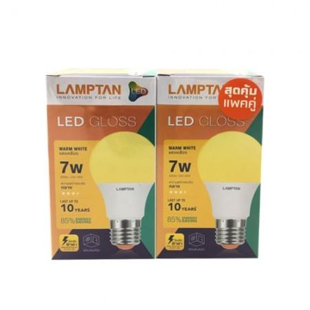 หลอดไฟ LED BULB 7W WW LAMPTAN (แพ็คคู่)
