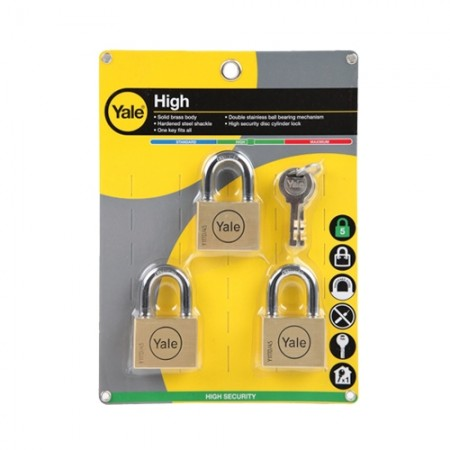 กุญแจคล้อง 45มม BD45P3 3ตัวชุด YALE