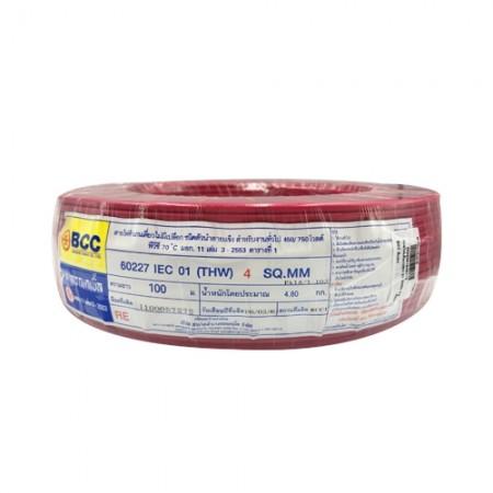 สายไฟเดี่ยว (IEC 01 THW) 1*4 BCC สีแดง
