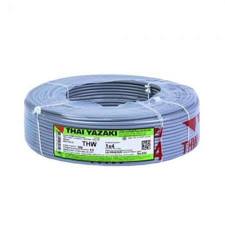 สายไฟเดี่ยว IEC 01 THW1*4มม. YAZAKI เทา