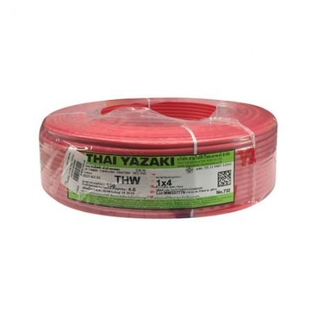 สายไฟเดี่ยว IEC 01 THW1*4 YAZAKI แดง