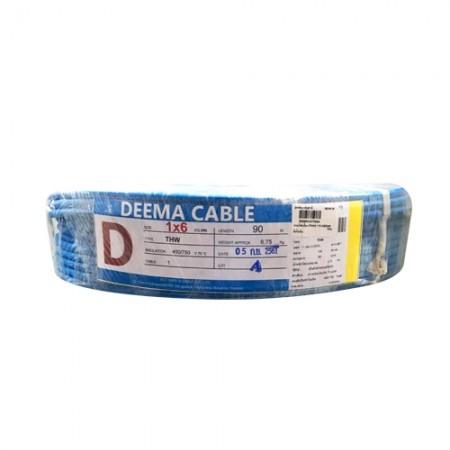 สายไฟเดี่ยว(THW) 1*6 สีน้ำเงิน DEEMA