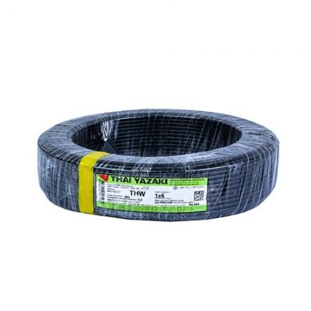 สายไฟเดี่ยว (IEC 01 THW) 1*6 YAZAKI สีดำ