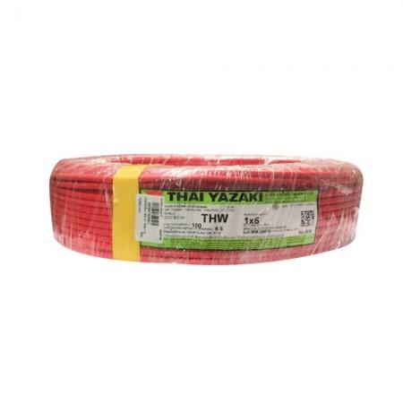 สายไฟเดี่ยว IEC 01 THW 1*6 YAZAKI แดง