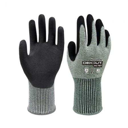 ถุงมือผ้าเคลือบยางไนไตร กันบาด 787 WDG, XL