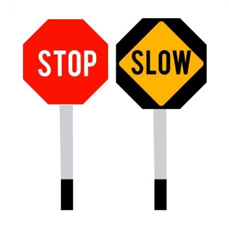 """ป้าย STOP-SLOW มือถือ 18"""" 2305 SAFETY FIRST"""