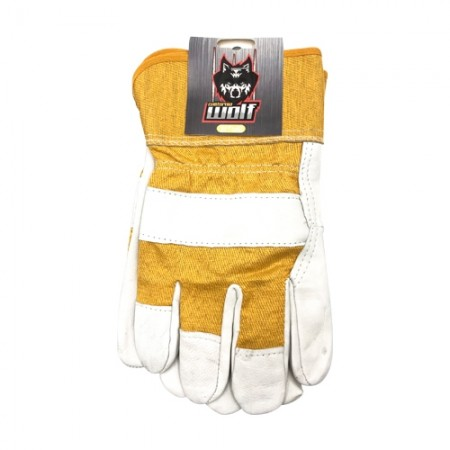 ถุงมือหนังสั้น มีซับ ขอบผ้า WOLF