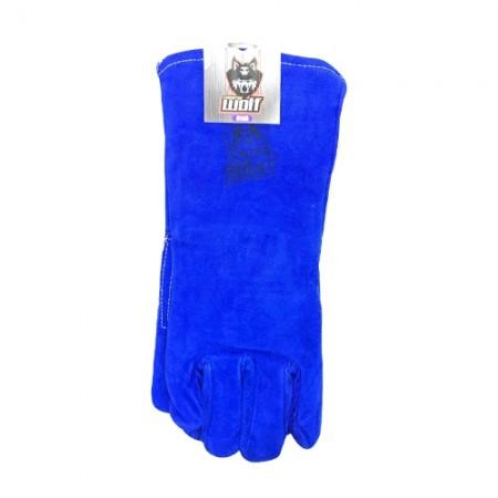 ถุงมือหนังยาวพิเศษมีซับ สีน้ำเงิน WOLF
