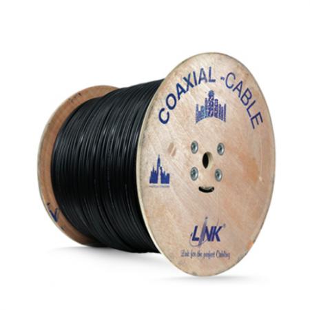 สายเคเบิ้ล  CCTV RG6 LINK CB-0106APWA Shield 95% มีสายไฟ 500M. ภายนอก