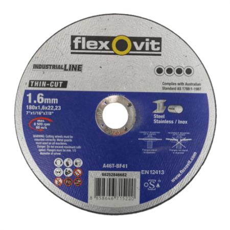 ใบตัดเหล็กและสแตนเลส ขนาด 7 นิ้ว แบบบาง Flexovit Industrial Line