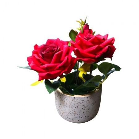 ดอกไม้ประดิษฐ์กุหลาบอังกฤษ Q28-8 สีแดง